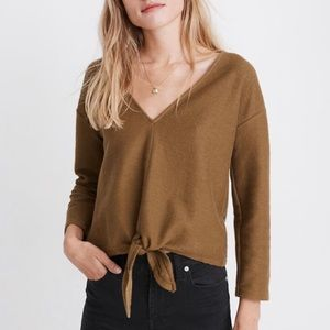 NEW! Madewell Olive Green Sweater Tie-Front Top